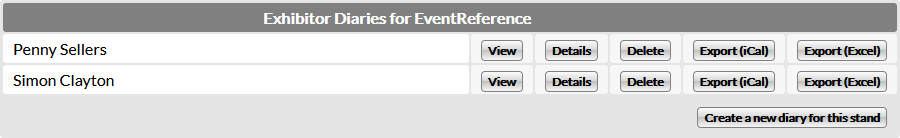 Multiple diaries for you stand using the EventReference diary system